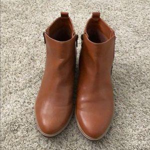 Cognac vegan leather ankle boots